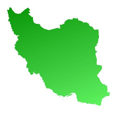 fill: Green gradient Iran map. Detailed, Mercator projection. Stock Photo