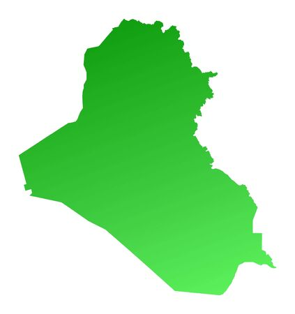 fill: Green gradient Iraq map. Detailed, Mercator projection.