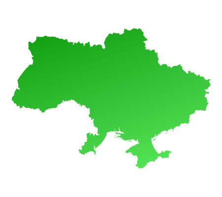 Green gradient Ukraine map. Detailed, Mercator projection. Stock Photo - 2151301