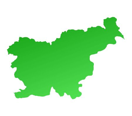 shading: Green gradient Slovenia map. Detailed, Mercator projection. Stock Photo