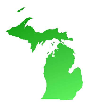 mercator: Green gradient Michigan map, USA. Detailed, Mercator projection.