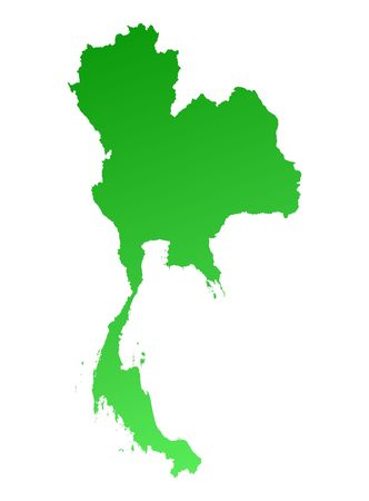 Green gradient Thailand map. Detailed, Mercator projection. Stock Photo
