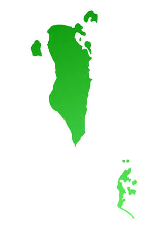 Green gradient Bahrain map. Detailed, Mercator projection. photo