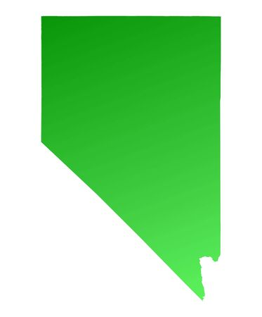 shading: Green gradient Nevada map, USA. Detailed, Mercator projection.