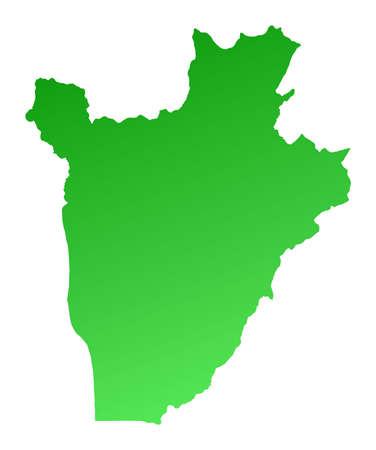 Green gradient Burundi map. Detailed, Mercator projection. Stock Photo - 2158114