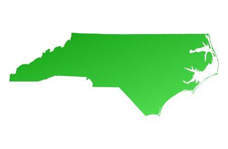 carolina: Green gradient North Carolina map, USA. Detailed, Mercator projection.
