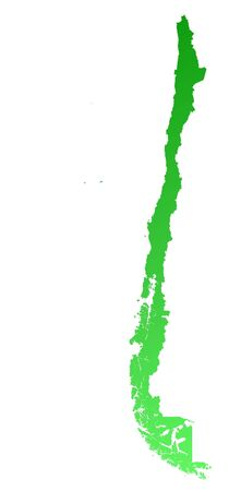 shading: Green gradient Chile map. Detailed, Mercator projection.