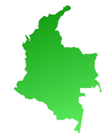 Green gradient Colombia map. Detailed, Mercator projection.