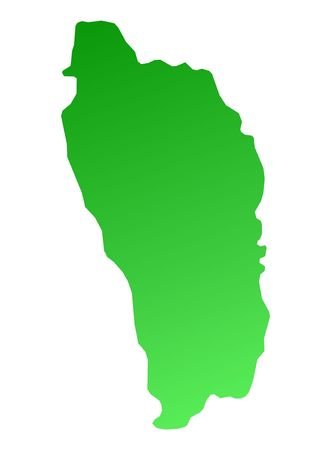 Green gradient Dominica map. Detailed, Mercator projection. photo