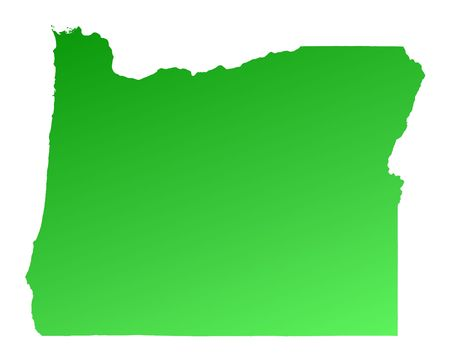 Green gradient Oregon map, USA. Detailed, Mercator projection.
