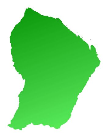 guiana: Green gradient French Guiana map. Detailed, Mercator projection.