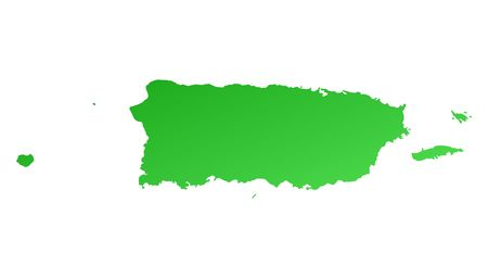 rico: Green gradient Puerto Rico map. Detailed, Mercator projection.