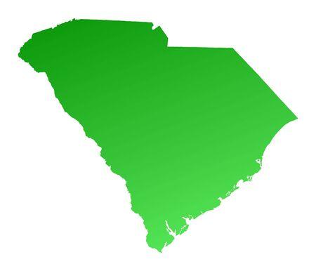 shading: Green gradient South Carolina map, USA. Detailed, Mercator projection.