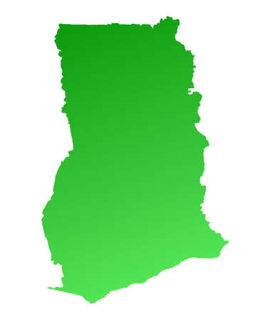 shading: Green gradient Ghana map. Detailed, Mercator projection.