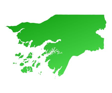 shading: Green gradient Guinea Bissau map. Detailed, Mercator projection. Stock Photo
