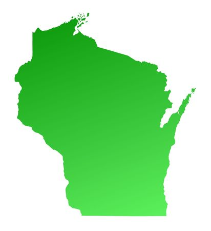 Green Gradient Wisconsin Map, USA. Detailed, Mercator Projection ...