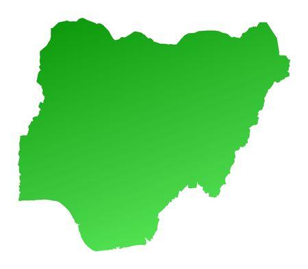 nigeria: Green gradient Nigeria map. Detailed, Mercator projection.