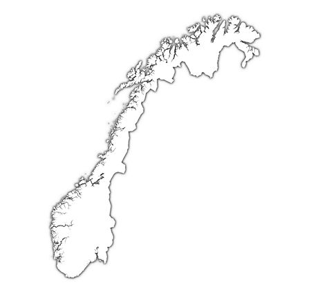 Norway outline map with shadow. Detailed, Mercator projection.