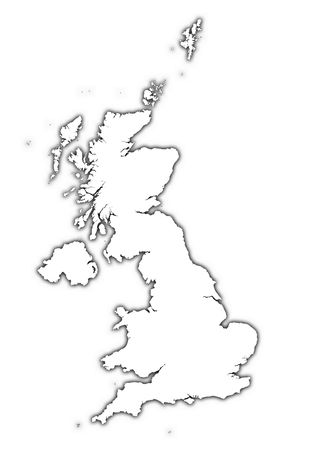 United Kingdom outline map with shadow. Detailed, Mercator projection.