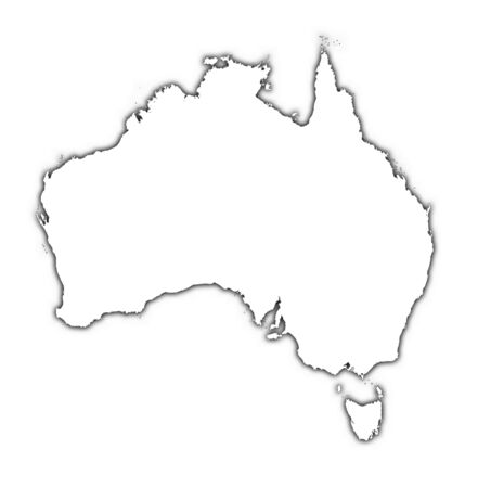 Australia outline map with shadow. Detailed, Mercator projection. photo