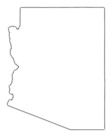 black outline: Arizona (USA) outline map with shadow. Detailed, Mercator projection.