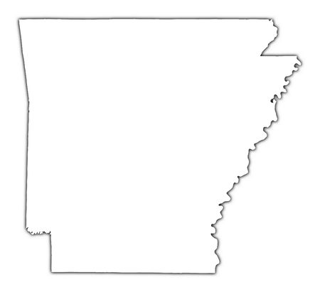 high resolution: Arkansas(USA) outline map with shadow. Detailed, Mercator projection. Stock Photo