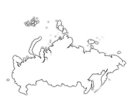 Russia outline map with shadow. Detailed, Mercator projection.