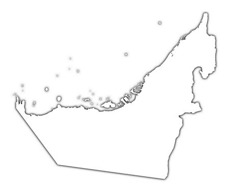 high resolution: United Arab Emirates outline map with shadow. Detailed, Mercator projection.