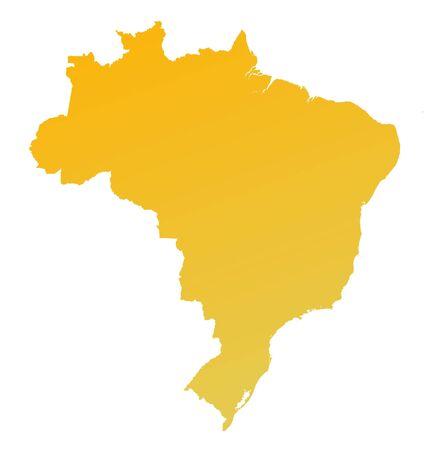fill: Orange gradient Brazil map. Detailed, Mercator projection.