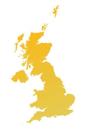 Orange gradient United Kingdom map. Detailed, Mercator projection. photo