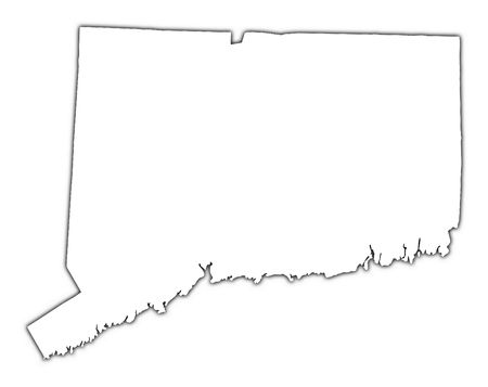 high resolution: Connecticut(USA) outline map with shadow. Detailed, Mercator projection. Stock Photo