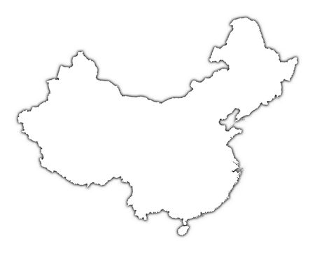 China outline map with shadow. Detailed, Mercator projection. Stock Photo - 2177649