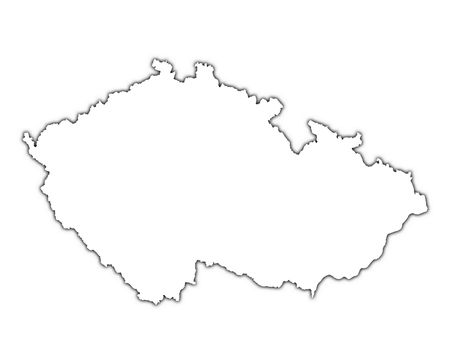 Czech Republic outline map with shadow. Detailed, Mercator projection.