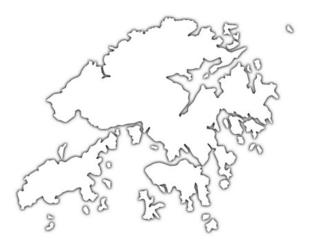 high resolution: Hong Kong outline map with shadow. Detailed, Mercator projection. Stock Photo