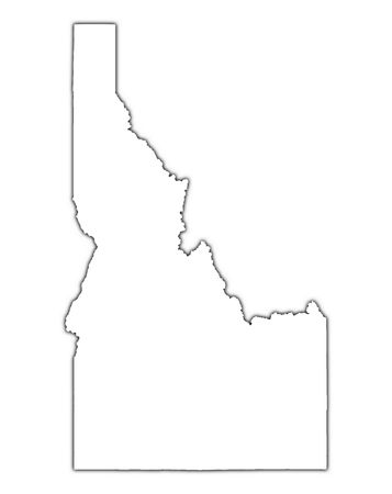 Idaho (USA) outline map with shadow. Detailed, Mercator projection.
