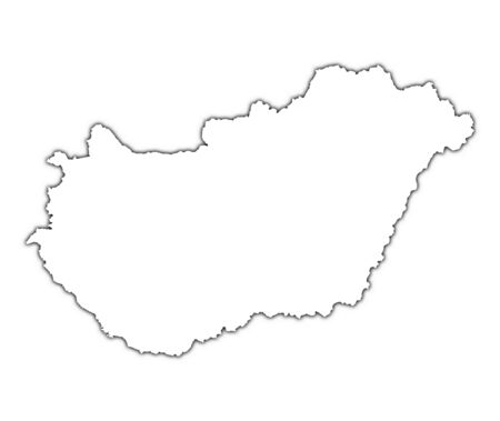 Hungary outline map with shadow. Detailed, Mercator projection.