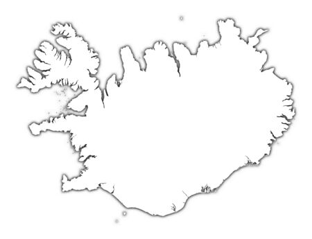 iceland: Iceland outline map with shadow. Detailed, Mercator projection.