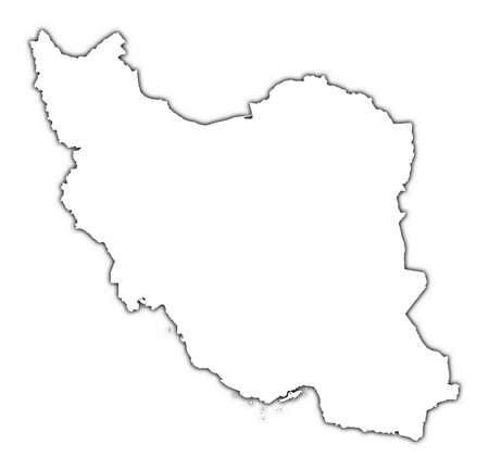 iran: Iran outline map with shadow. Detailed, Mercator projection.