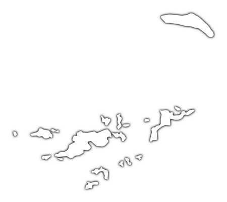 British Virgin Islands outline map with shadow. Detailed, Mercator..