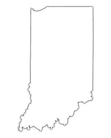 indiana: Indiana (USA) outline map with shadow. Detailed, Mercator projection. Stock Photo