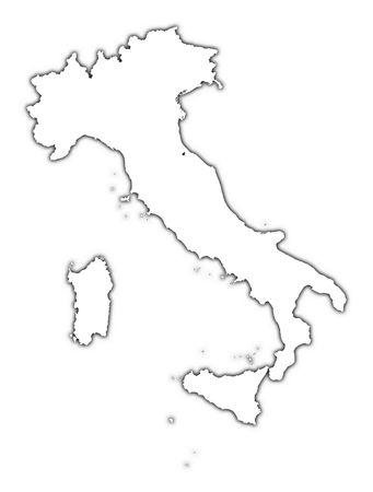 Mapa del contorno de Italia con la sombra. Detallado, proyección de Mercator. Foto de archivo - 2182449