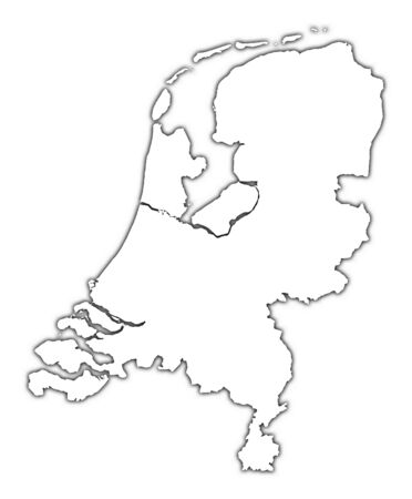 mercator: Netherlands outline map with shadow. Detailed, Mercator projection.