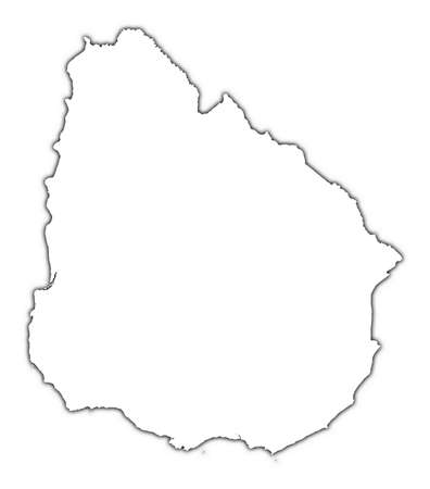 mercator: Uruguay outline map with shadow. Detailed, Mercator projection. Stock Photo