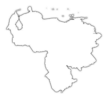 mapa de venezuela: Venezuela esbozo de mapa con sombra. Detallada, proyecci�n Mercator.