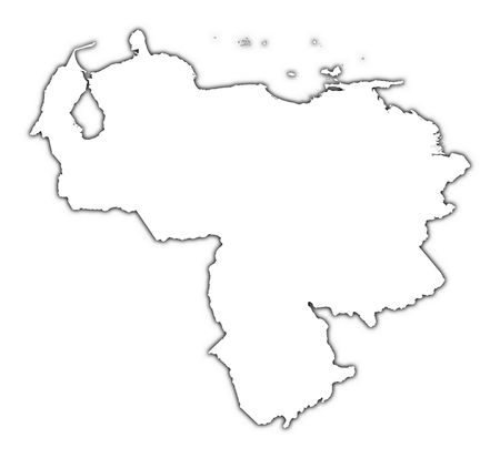 venezuela: Venezuela outline map with shadow. Detailed, Mercator projection.
