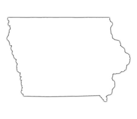 iowa: Iowa (USA) outline map with shadow. Detailed, Mercator projection.