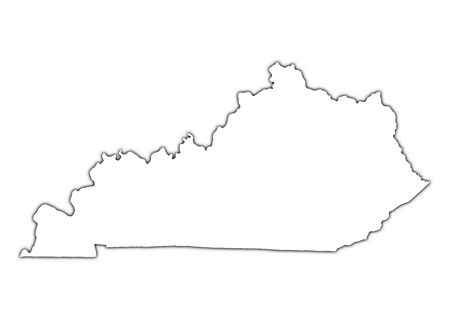 kentucky: Kentucky (USA) outline map with shadow. Detailed, Mercator projection.