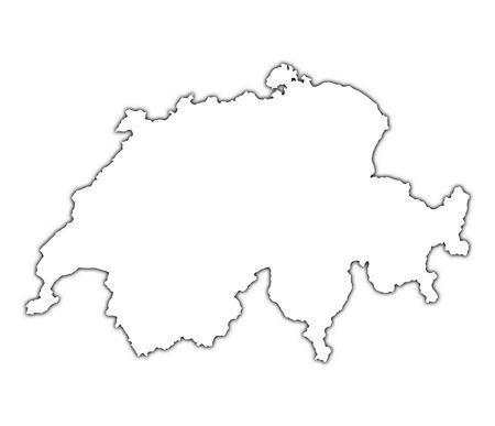 switzerland: Switzerland outline map with shadow. Detailed, Mercator projection.
