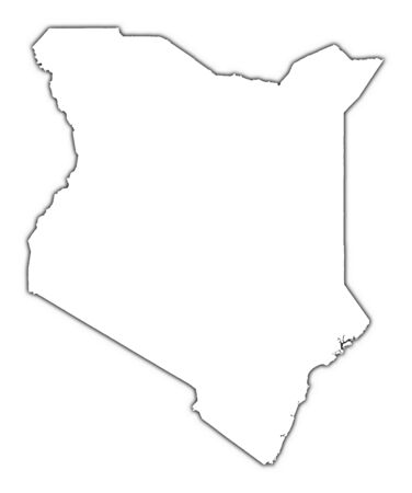 kenya: Kenya outline map with shadow. Detailed, Mercator projection.