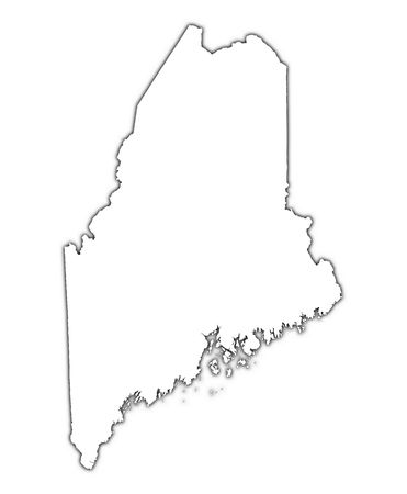 mercator: Maine (USA) outline map with shadow. Detailed, Mercator projection.